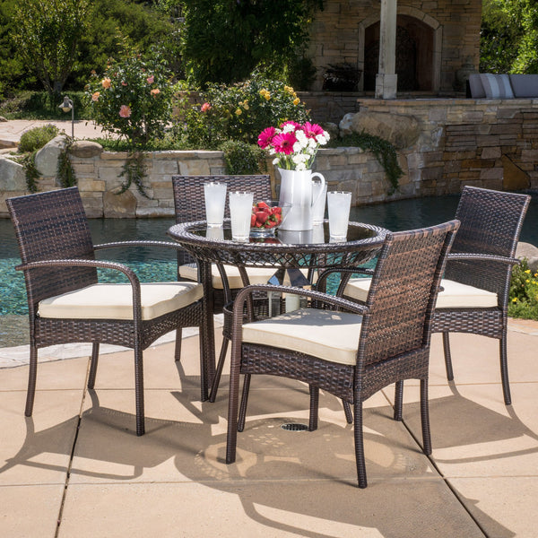 Outdoor 5-piece Wicker Dining Set with Cushions - NH168592