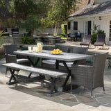Outdoor 6 Piece Lightweight Concrete Dining Set with Bench - NH809592