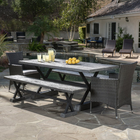 Outdoor 5 Piece Lightweight Concrete Dining Set with Benches - NH909592