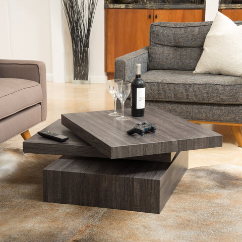 Square Rotating Wood Coffee Table - NH229592