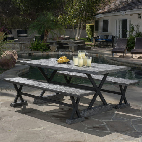 Outdoor 3 Piece Lightweight Concrete Dining Set with Benches - NH829592