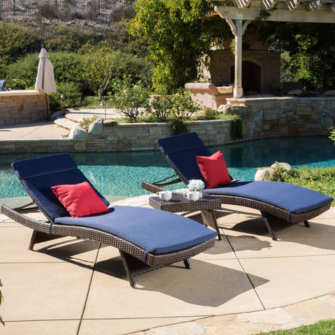 Outdoor 3-piece Wicker Adjustable Chaise Lounge Set with Cushions - NH439592