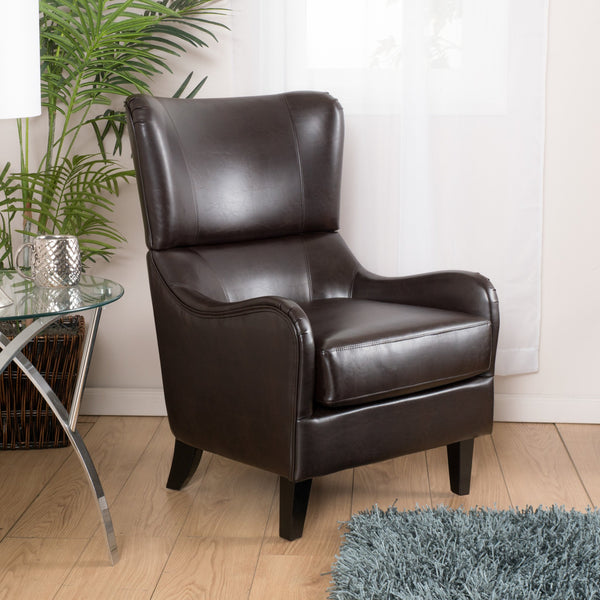 Leather High Back Wingback Armchair - NH069592