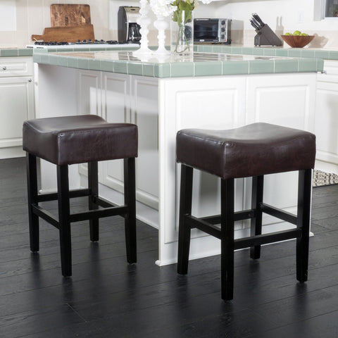 26-Inch Brown Leather Backless Counter Stool (Set of 2) - NH169592