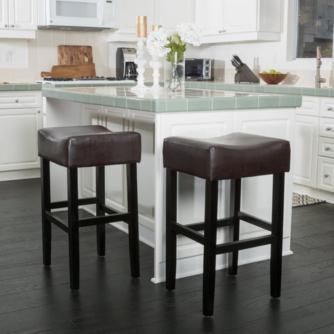 30-Inch Brown Leather Backless Bar Stool (Set of 2) - NH269592