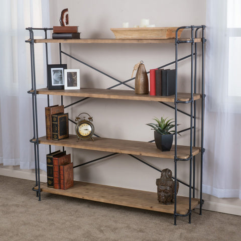 Industrial Pipe Design 4 Shelf Etagere Bookcase - NH969592