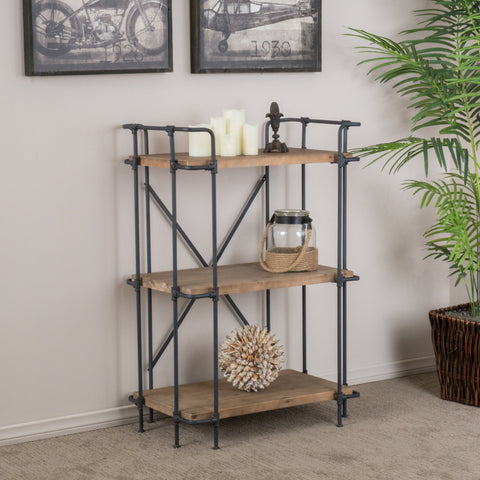 Industrial Pipe Design 3-Shelf Etagere Bookcase - NH079592