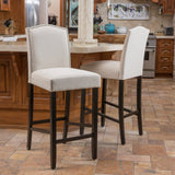 30-Inch Ivory Fabric Backed Barstool (Set of 2) - NH379592