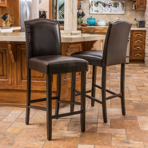 30-Inch Brown Leather Backed Barstool (Set of 2) - NH479592