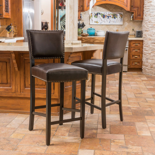 31-Inch Bonded Leather Backed Barstool (Set of 2) - NH679592