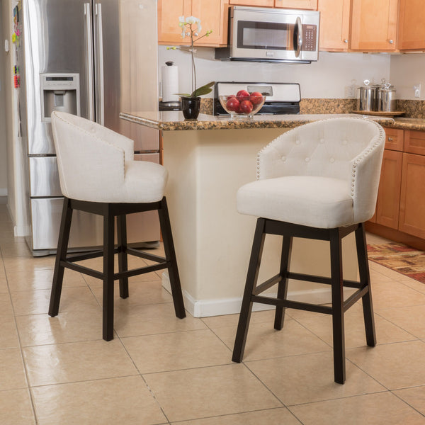 31-Inch Beige Fabric Swivel Backed Barstool (Set of 2) - NH779592