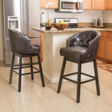 30-Inch Brown Leather Swivel Backed Barstool (Set of 2) - NH879592