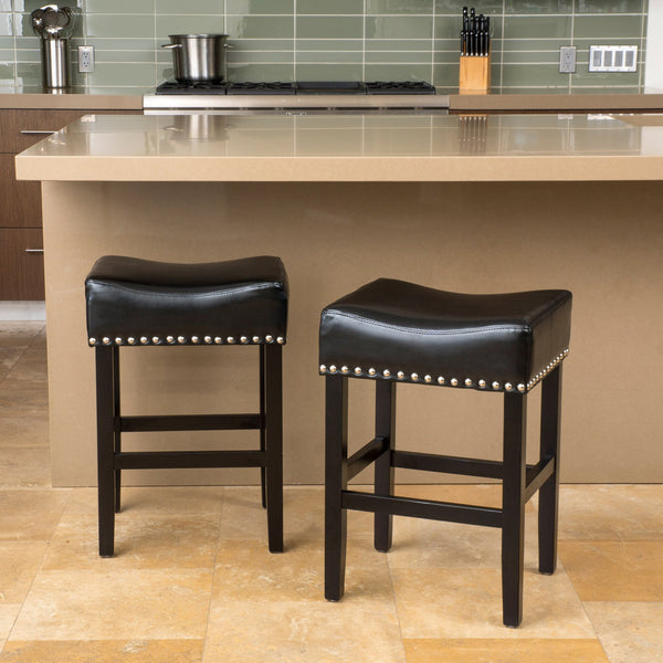 Black Bonded Leather Backless 26-Inch Counter Stool (Set of 2) - NH699592