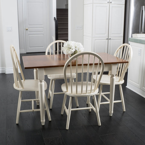 5-piece Spindle Wood Dining Set with Leaf Extension - NH830692