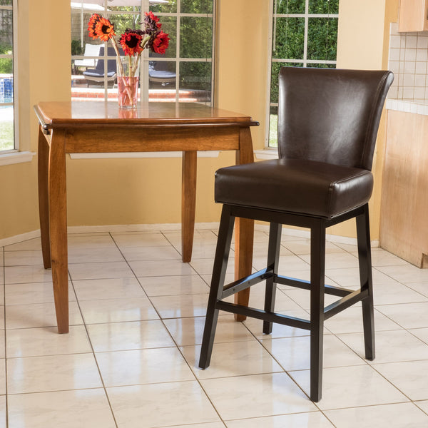 Brown Leather 31-Inch Swivel Barstool - NH570692