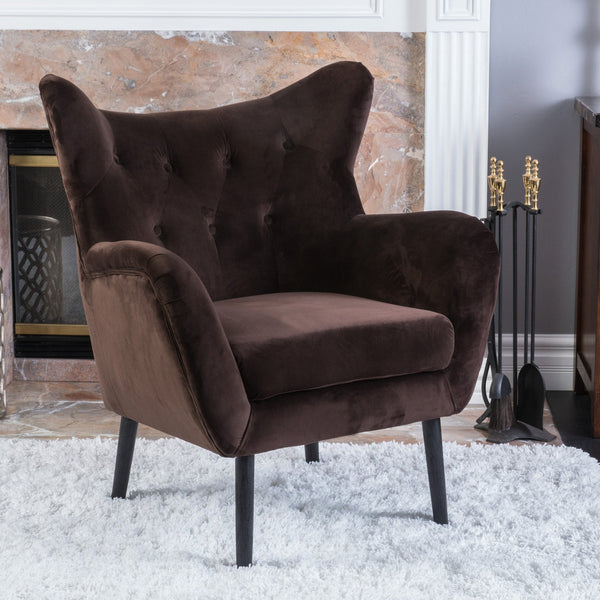 Brown Velvet Arm Chair - NH412692