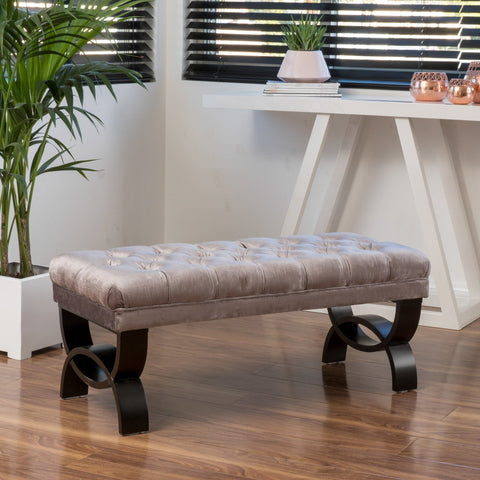 Martinez Grey Tufted Velvet Ottoman Bench