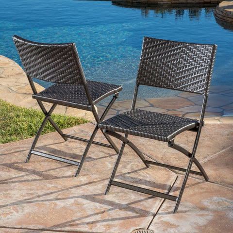 Outdoor Brown Wicker Folding Chair (Set of 2) - NH224692