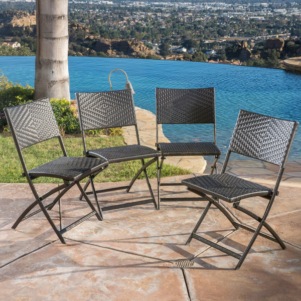 Outdoor Brown Wicker Folding Chair (Set of 4) - NH324692