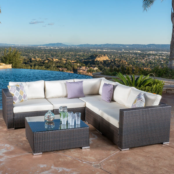 6pc Outdoor Brown Wicker Seating Sectional Set w/ Cushions - NH144692