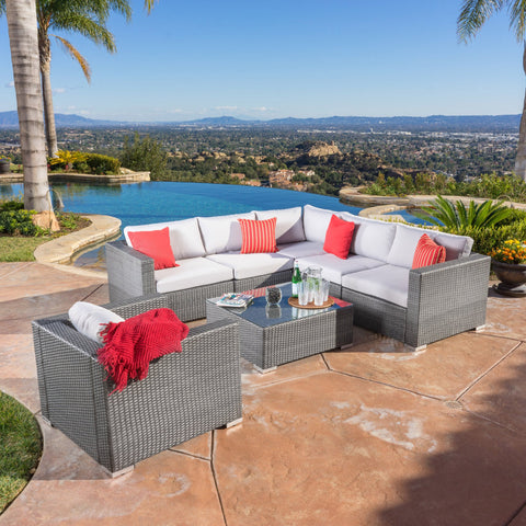 7pc Outdoor Grey Wicker Seating Sectional Set w/ Cushions - NH244692