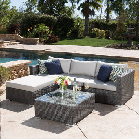 5pc Outdoor Grey Wicker Seating Sectional Set w/ Cushions - NH444692
