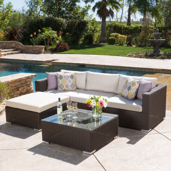 5pc Outdoor Brown Wicker/Aluminum Seating Sectional Set w/ Cushions - NH544692