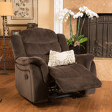 Brown Fabric Glider Recliner Club Chair - NH844692