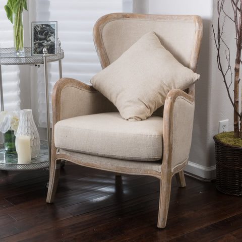 Beige Fabric Wing Chair - NH345692
