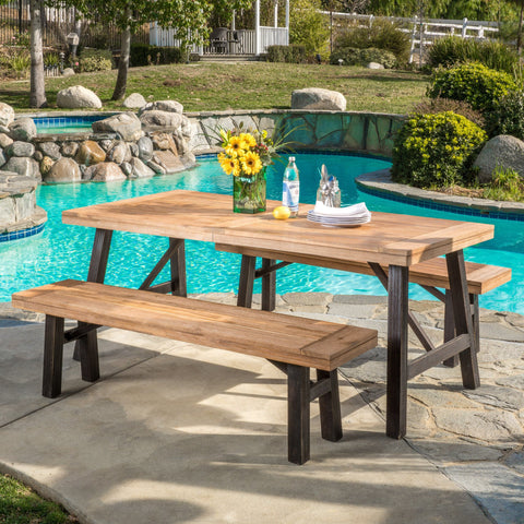 Outdoor Teak Finish and Brushed Grey Acacia Wood Picnic Dining Set - NH175692