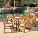 Outdoor 7-piece Wood Dining Set with Cushions - NH385692