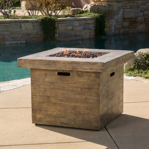 Outdoor Square Brown Lightweight Concrete Fire Pit with Wood Design - NH685692
