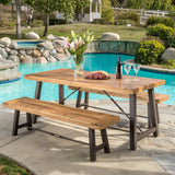 Rustic Industrial Outdoor Teak Finish Acacia Wood Picnic Dining Set - NH916692
