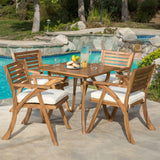 Outdoor 5-piece Wood Dining Set with Cushions - NH026692