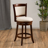 Modern 24-Inch Beige Upholstered Wood Swivel Backed Counterstool - NH336692