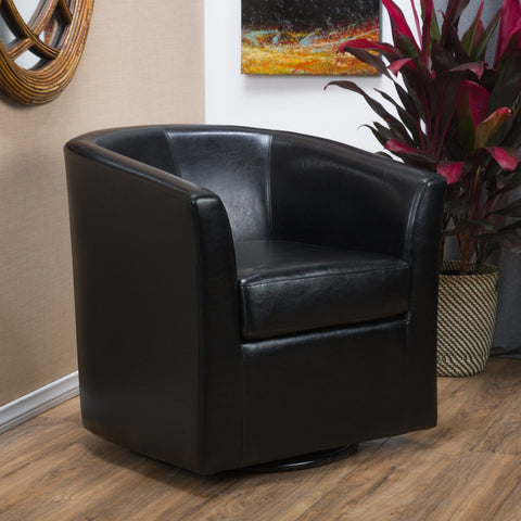Modern Upholstered Faux Leather Swivel Barrel Club Chair - NH146692