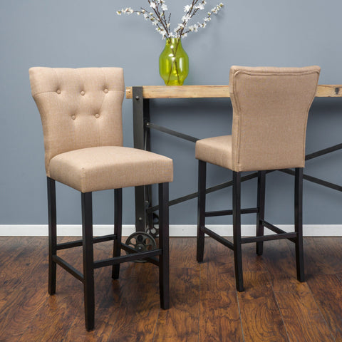 31-Inch Brown Mocha Fabric Barstool (Set of 2) - NH346692