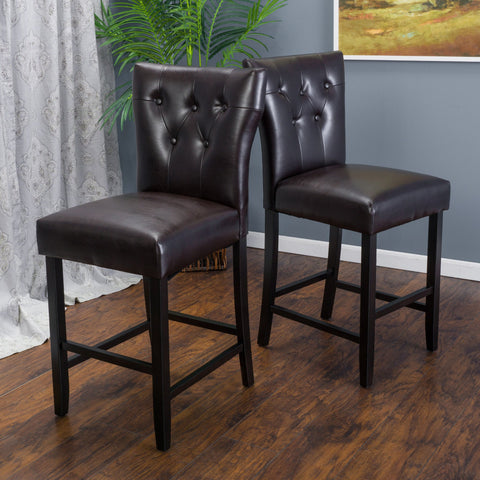 27-Inch Brown Leather Counter Stool (Set of 2) - NH446692