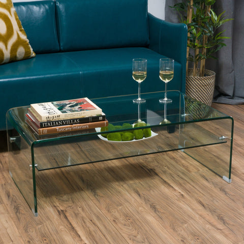 Glass Rectangle Coffee Table w/ Shelf - NH576692