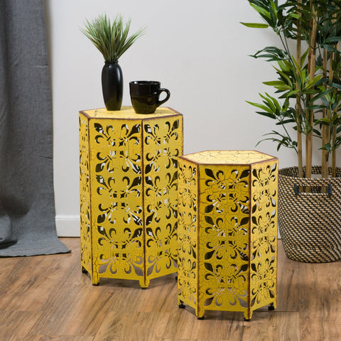 Outdoor Hexagonal Antique Yellow Iron Accent Tables (Set of 2) - NH676692