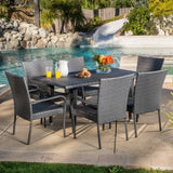 Outdoor 7-piece Grey Wicker Dining Set - NH186692