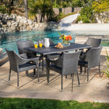 Outdoor 7-Piece Gray Wicker Dining Set with Stacking Chairs - NH096692