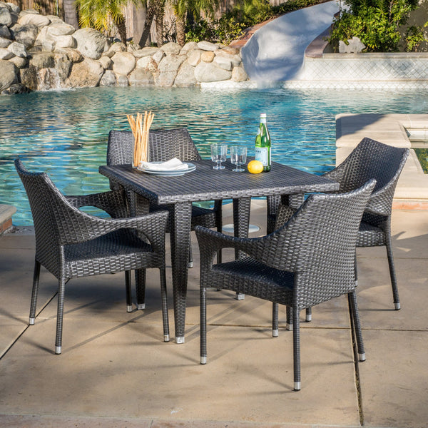 Outdoor 5-Piece Gray Wicker Dining Set with Stacking Chairs - NH196692