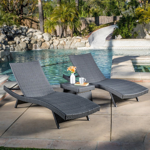 Outdoor Grey Wicker 3-piece Adjustable Chaise Lounge Set - NH017692