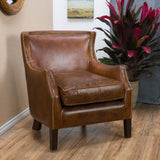 Brown Top Grain Leather Upholstered Club Chair with Nailhead Trim - NH317692