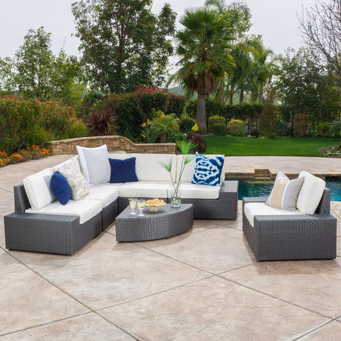 7pc Outdoor Grey Wicker Sofa Set w/ Cushions - NH637692