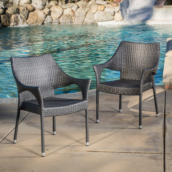 Modern Outdoor Gray Wicker Stacking Armchairs (Set of 2) - NH837692