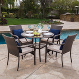 Outdoor Brown Wicker 5-piece Dining Set with Cushions - NH847692