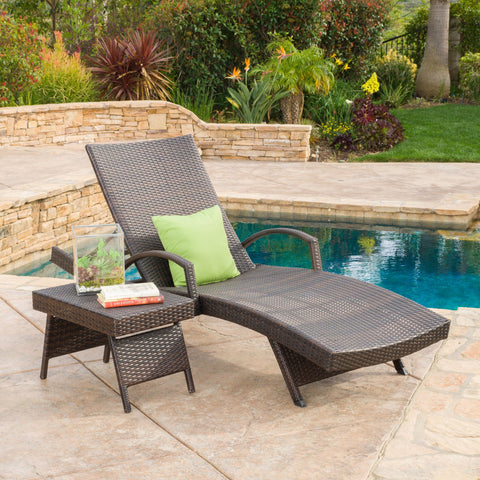 Outdoor 2-piece Brown Wicker Armed Chaise Lounge w/ Table - NH677692