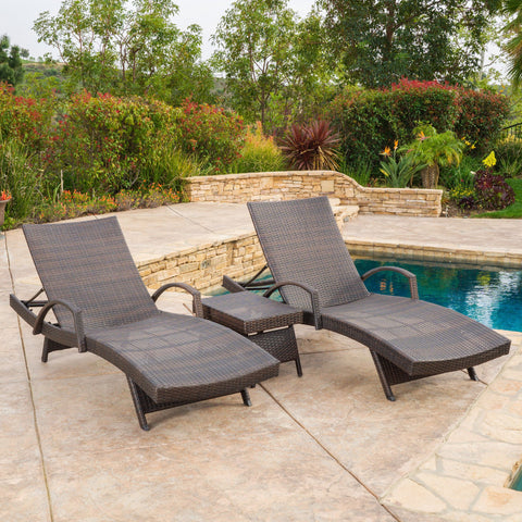 Outdoor Brown Wicker 3-piece Adjustable Armed Chaise Lounge Set - NH777692